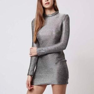 TOPSHOP HIGH NECK CHAINMAIL MINI DRESS